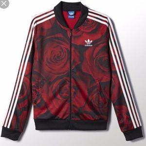 NWOT adidas Women's Track Jacket-Red Roses Size XS